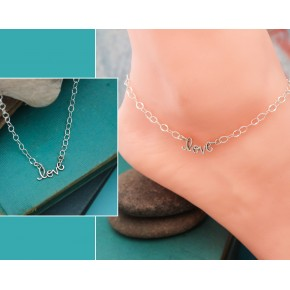 Love Anklet in Sterling Silver