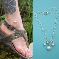 3 Drop Pearl Anklet in Sterling Silver