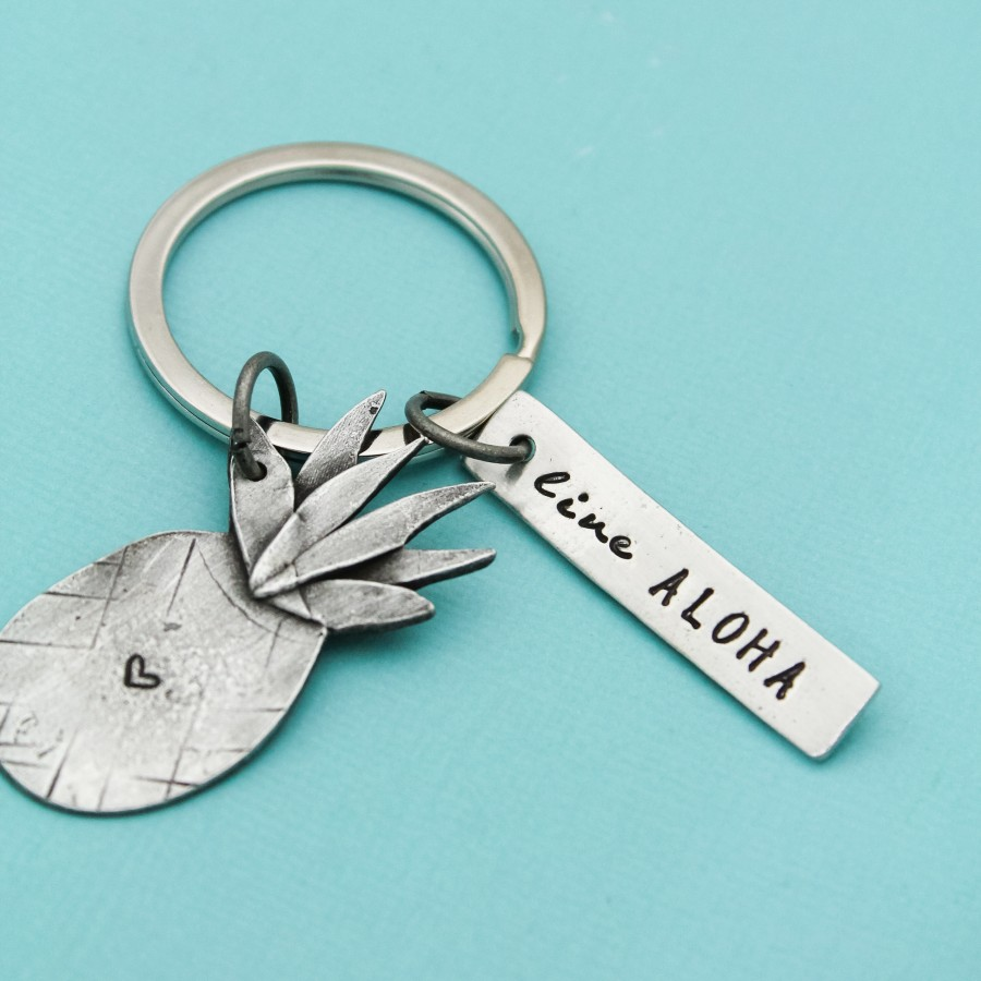 Live Aloha Pineapple Key Chain Keychain