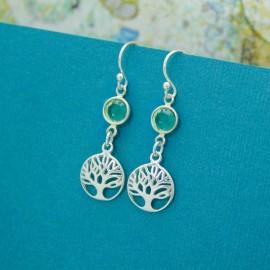 Tree of Life Birthstone Earrings