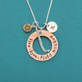 Live Love Field Hockey Copper Washer Necklace