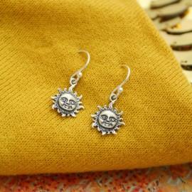 Sterling Silver Sun Charm Earrings