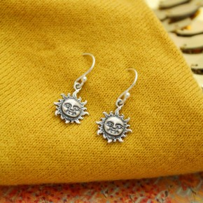 Sterling Silver Sun Charm Earrings