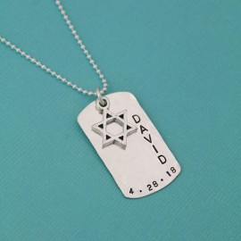 Boy's Bar Mitzvah Star of David Dog Tag Necklace