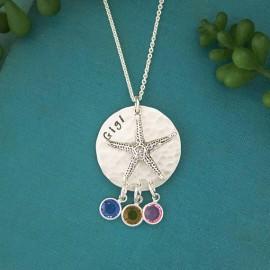 Starfish Grandma or Mom Necklace with Birthstones