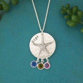 Starfish Grandma or Mom Necklace with Birthstones