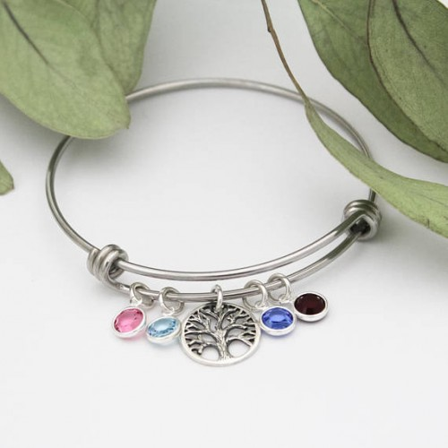 Tree of Life Bangle Bracelet in Sterling Silver