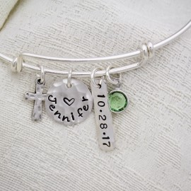 Personalized Confirmation Cross Bangle Bracelet