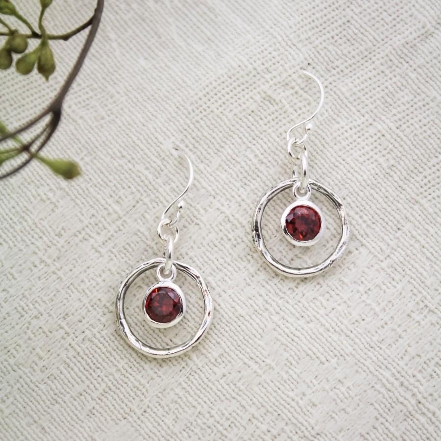 Rustic Birthstone Earrings In Sterling Silver Earrings