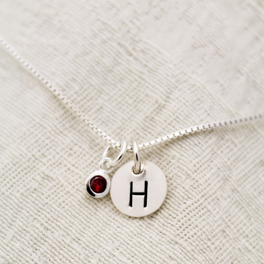 Classic initial necklace personalized necklace birthstone initial necklace in sterling silver aloadofball