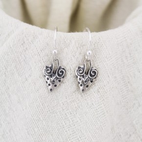 Polka Dot Heart Earrings in Sterling Silver