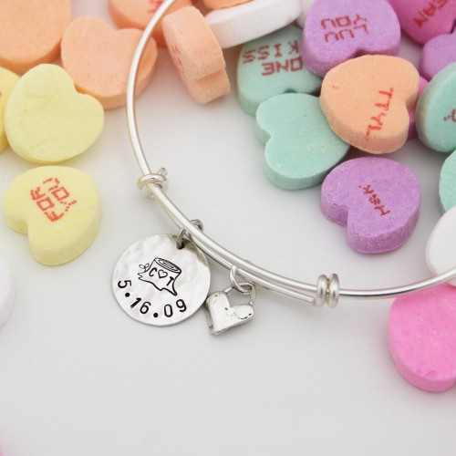 Personalized Tree Stump and Heart Bangle