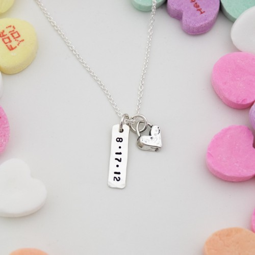 Petite Heart and Tag Necklace