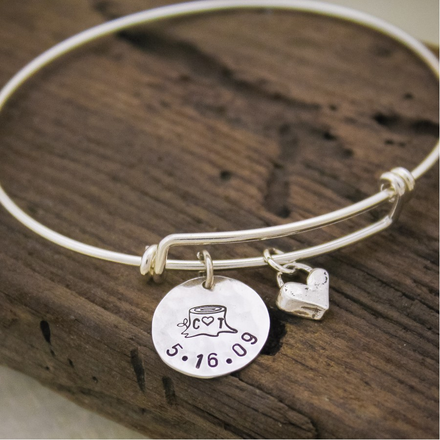 Birthstone And Initial Bracelet In Sterling Silver Bracelet