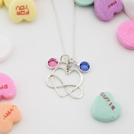Infinite Heart Necklace with Birthstones