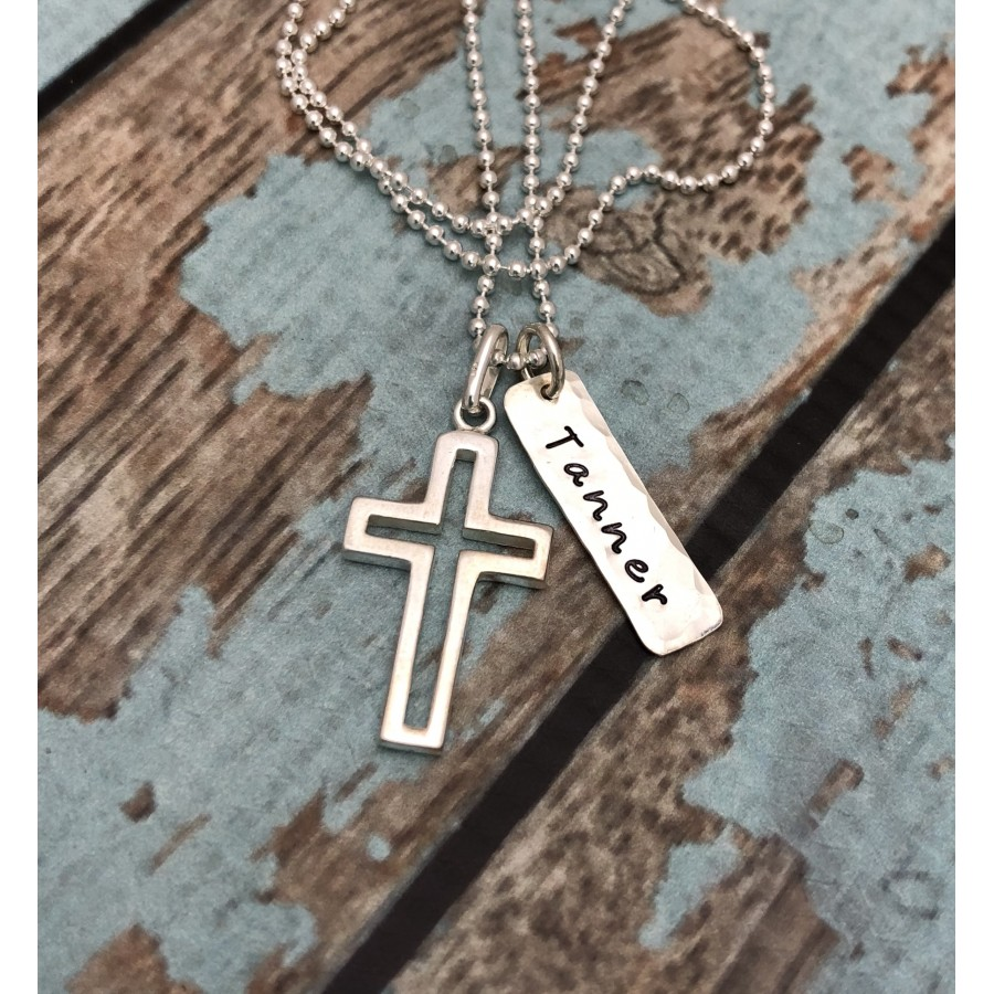 Boy's Sterling Silver Cross Outline Necklace | Personalized Necklace