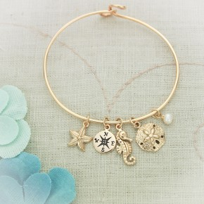 Bronze Bangle Bracelet with Charms