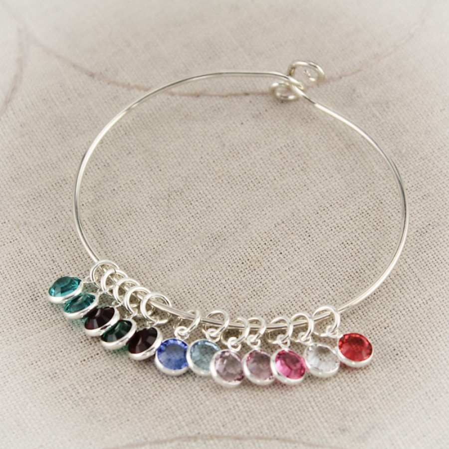 Silver Mother Or Grandmother Bangle Bracelet With Birthstone Charms