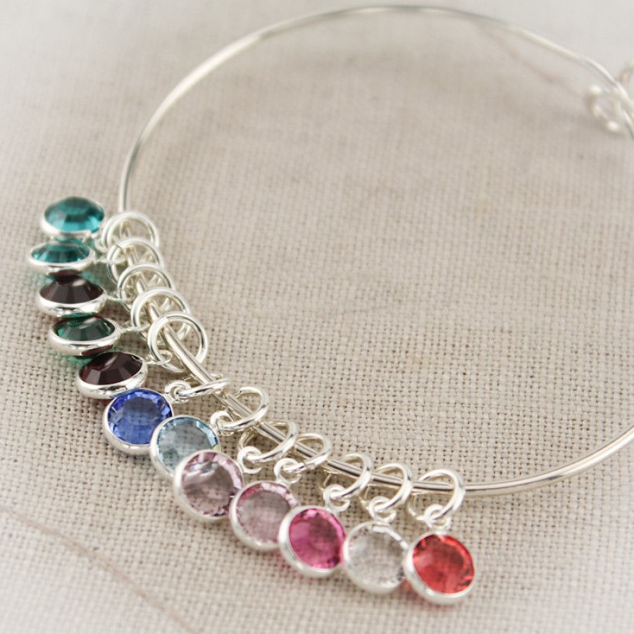 Birthstone Charm Bracelet: Silver Mother Or Grandmother Bangle Bracelet With