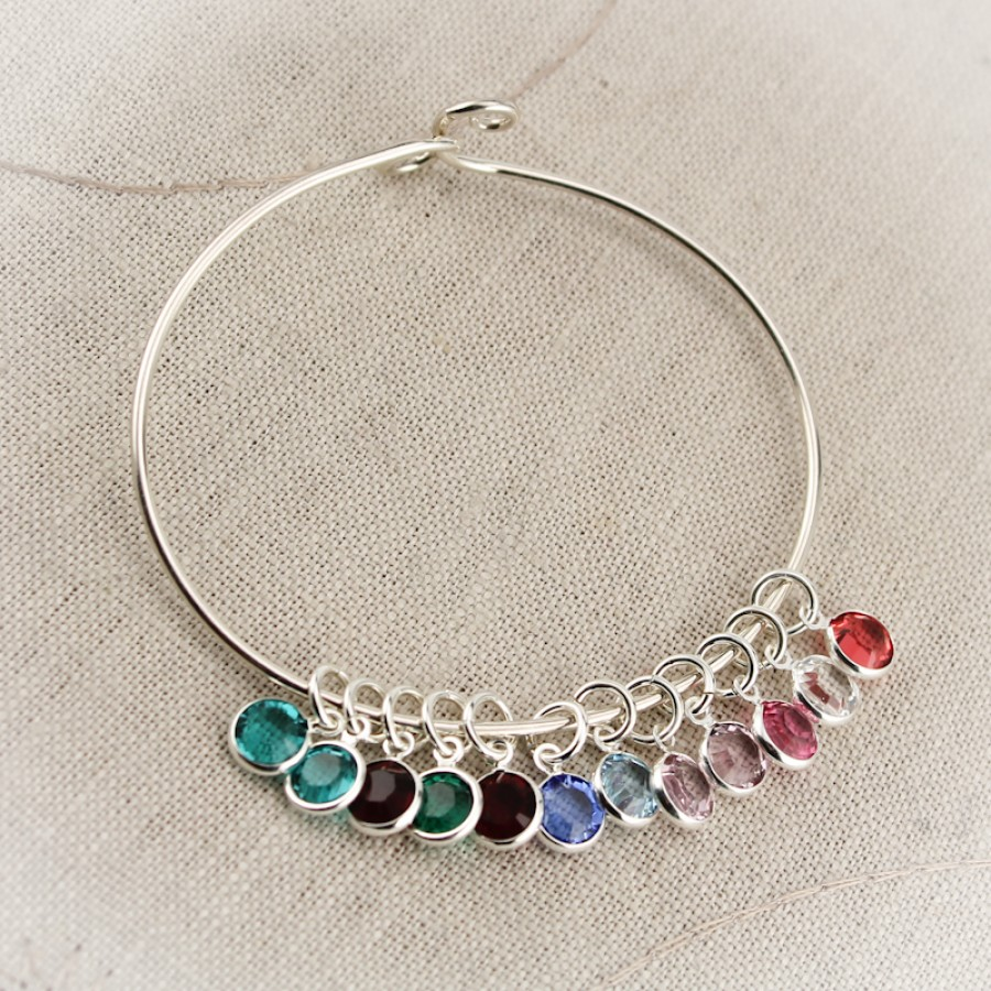 7d2c19adabde4 Silver Mother or Grandmother Bangle Bracelet with Birthstone Charms