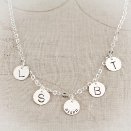 Little Kisses Personalized Disc Charm Necklace