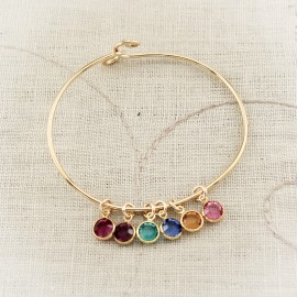 Bronze Mother or Grandmother Bangle Bracelet with Birthstone Charms