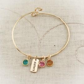 Bronze Sister Bangle Bracelet with Birthstone Charms