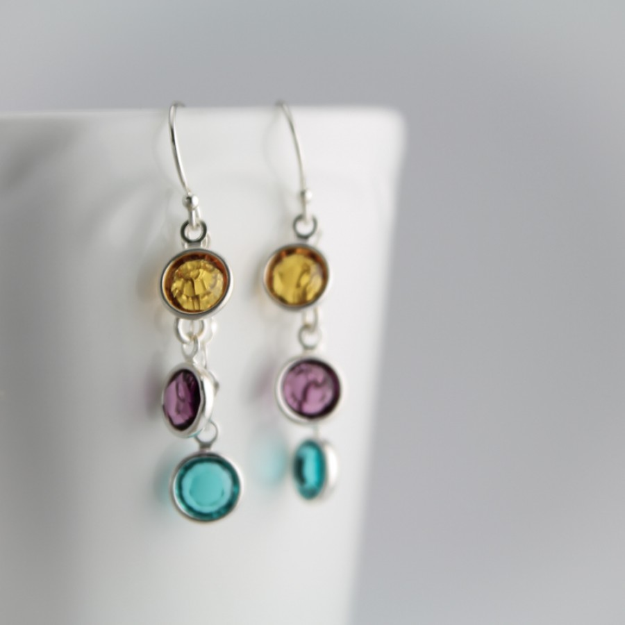 swarovski birthstone earrings dec flower silver turquoise and december wj products