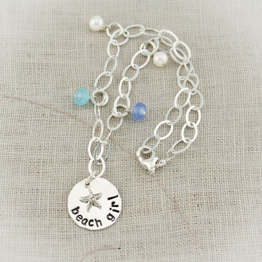 Sterling Silver Beach Girl Anklet Personalized Anklet