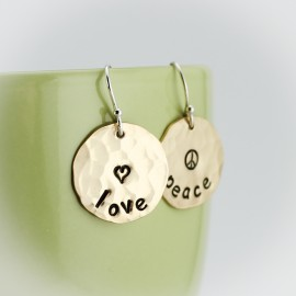 Hand Stamped Earrings - Choose Your Design and Words
