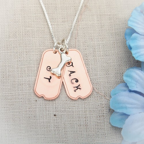 Copper Dog Tags Necklace