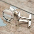 Latitude and Longitude Coordinates Cufflinks - Custom Sterling Silver Cuff Links