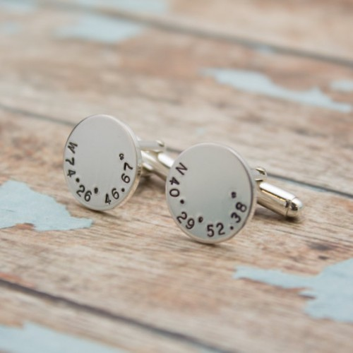 Latitude and Longitude Coordinates Cufflinks - Custom Sterling Silver Cuff Links