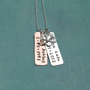Love Tokens Necklace with Birthdates