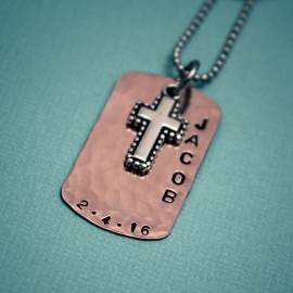 Boy's Cross Necklace in Copper or Brass