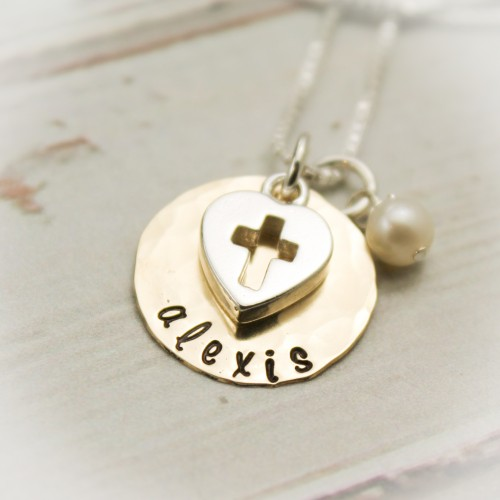 Love and Faith Necklace in 14K gold filled or sterling silver