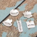 Personalized Sterling Silver Charms in Various Shapes
