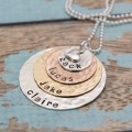 Personalized Layered Mother or Grandmother Necklace Mixed Metals