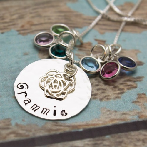Family Disc Necklace with Birthstones