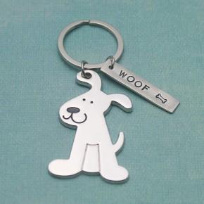 Woof Personalized Dog Keychain