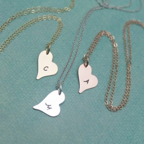 Dainty Heart Initial Necklace