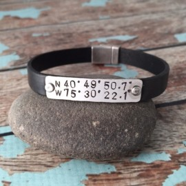 Custom Coordinates Leather Cuff