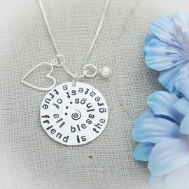 Friends Quote Disc Necklace