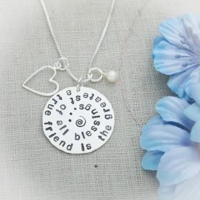 Friends Quote Disc Necklace
