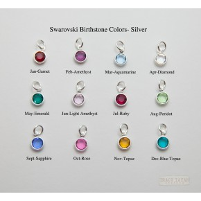 Birthstone Charms Flat Swarovski Crystals in Silver