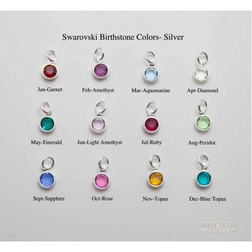 Birthstone Charms Flat Swarovski Crystals in Silver