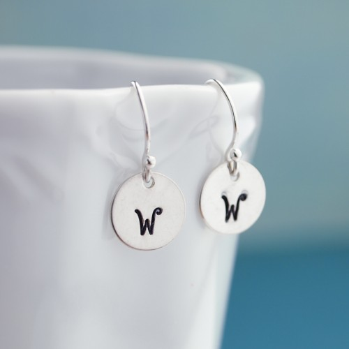 Tiny Sterling Silver Initial Earrings