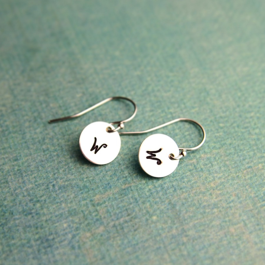 Tiny Sterling Silver Initial Earrings Earrings