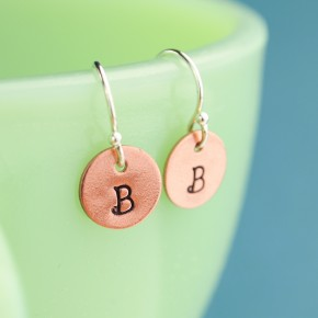 Tiny Copper Initial Earrings