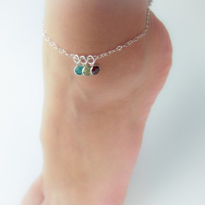 Sterling Silver Birthstone Anklet with 6mm charms